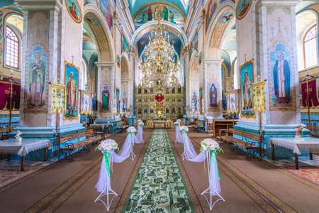 Inside the Orthodox church in Terebovlia town, Ukraine, former Carmelite monastery