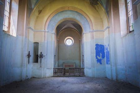 Nave of desolate and ruined Polish church in Ulashkivtsi village, Ukraine Imagens