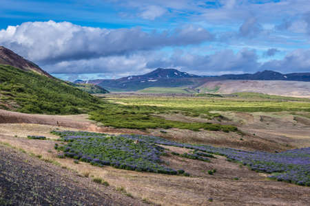 View from a road through Mount Namafjall close to Reykjahlid town in Myvatn region of Iceland