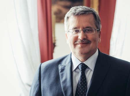 Warsaw, Poland - September 10, 2011: Portrait of Bronislaw Komorowski, politician and historian who served as President of Poland from 2010 to 2015 Редакционное