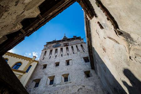 Famous Clock Tower in Sighisoara town in Romania Foto de archivo