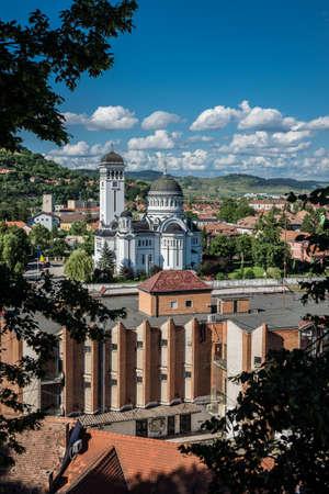 Holy Trinity Church in Sighisoara town in Romania Foto de archivo