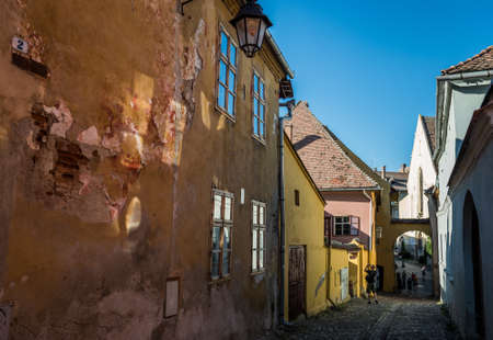 Street on the old part of Sighisoara town in Romania