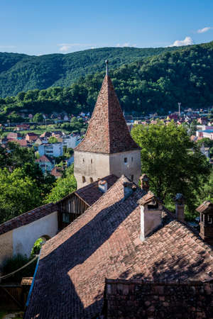 Aerial view from hill in Sighisoara town in Romania