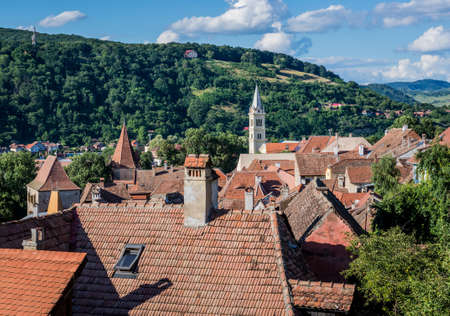 Aerial view from hill in Sighisoara town in Romania Foto de archivo