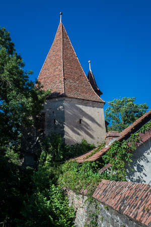 Bootmakers' Tower in Sighisoara town in Romania Stock fotó