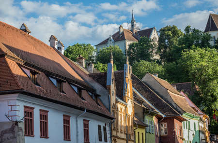 Houses and School on the Hill in Sighisoara town in Romania