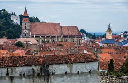 Gothic style Black Church in Brasov city in Romania Foto de archivo