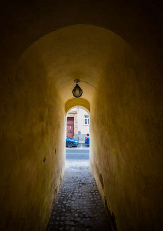 String Street in Brasov city - narrowest street in Romania Foto de archivo
