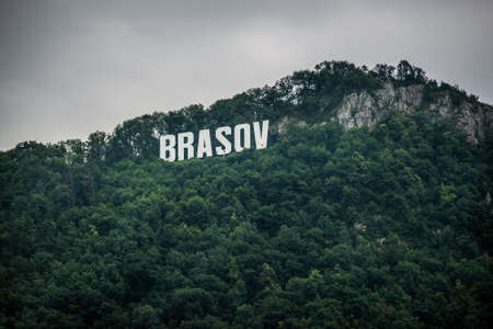 Brasov sign on Tampa mountain in Brasov city in Romania Stock fotó