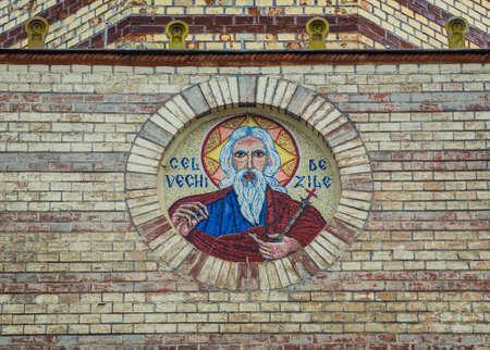 Front facade of Orthodox Assumption Church in Brasov city in Romania Foto de archivo