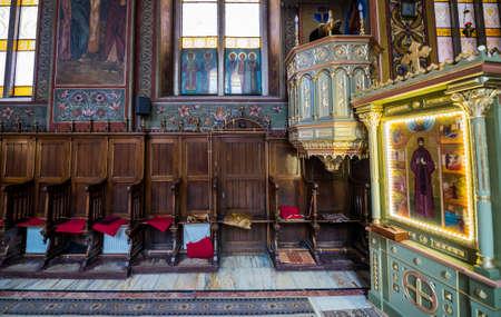 Interior of Orthodox Assumption Church in Brasov city in Romania