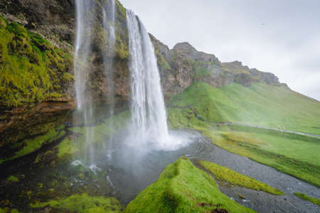 View on the famous Seljalandsfoss waterfall in south part of Iceland