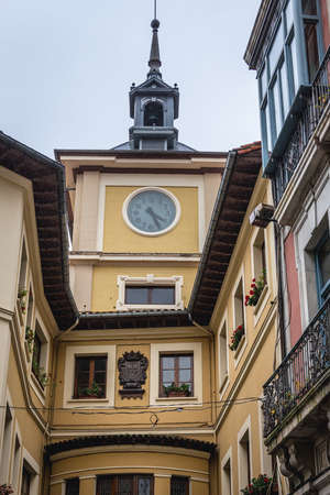 Clock tower of City Hall in Oviedo, Spain Archivio Fotografico