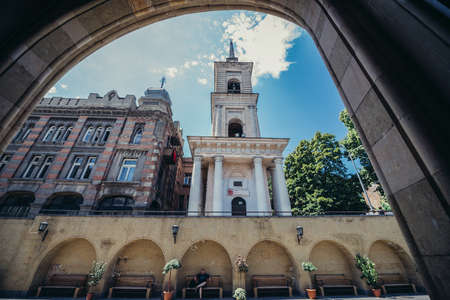 Tbilisi, Georgia - July 18, 2015. Bell tower of Sioni Cathedral of Dormition commonly known as Tbilisi Sioni