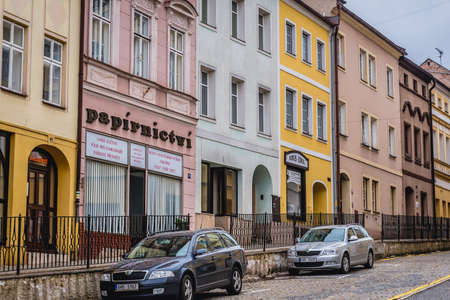 Broumov, Czech Republic - March 24, 2019: Row of tenement houses in historic part of Broumov city