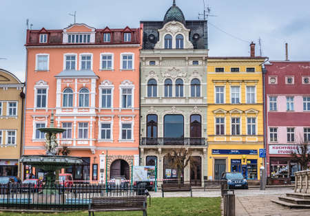 Broumov, Czech Republic - March 24, 2019: Row of tenement houses on a Peace Square - main square of historic part of Broumov city