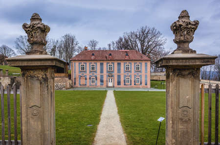 Broumov, Czech Republic - March 24, 2019: Old building in garde in front of monastery in historic part of Broumov city 新闻类图片