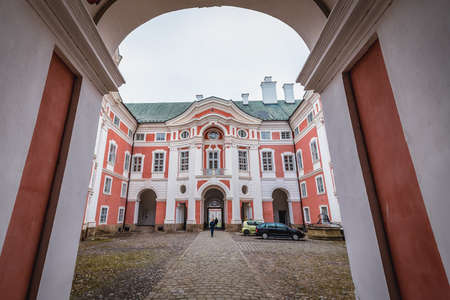 Broumov, Czech Republic - March 24, 2019: Inside the monastery in historic part of Broumov city