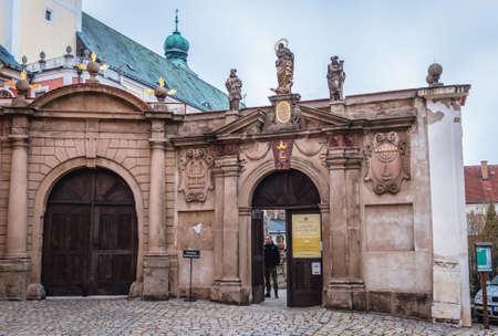 Broumov, Czech Republic - March 24, 2019: Gateway of monastery in historic part of Broumov city
