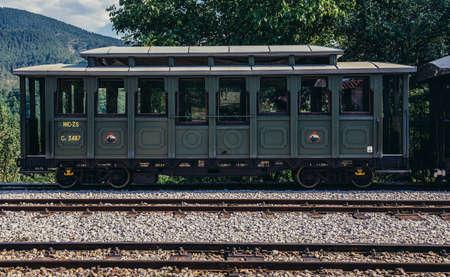 Mokra Gora, Serbia - August 28, 2015. Old railway carriage on Mokra Gora station in Serbia 新闻类图片