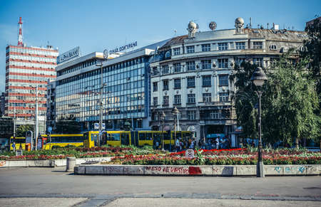Belgrade, Serbia - August 29, 2015. View on one of the main squares in Belgrade called Square of the Republic 新闻类图片
