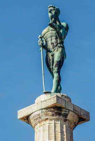 Belgrade, Serbia - August 29, 2015. The Victor Statue also called Pobednik Monument located in Belgrade Fortress