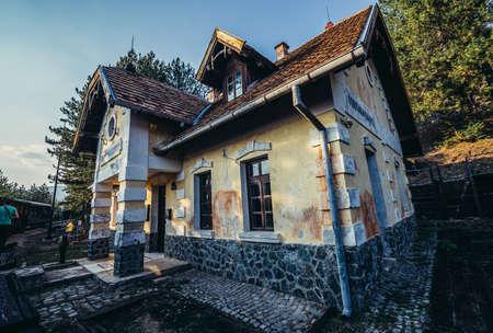 Golubici, Serbia - August 28, 2015. Old railway station in Golubici of narrow gauge railway called Sargan Eight running from the village of Mokra Gora to Sargan Vitasi