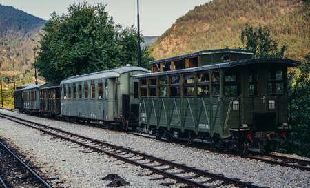Mokra Gora, Serbia - August 28, 2015. Old railway carriages on Mokra Gora station in Serbia