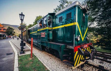 Mokra Gora, Serbia - August 28, 2015. Old Romanian locomotive narrow gauge railway called Sargan Eight at Mokra Gora station 新闻类图片