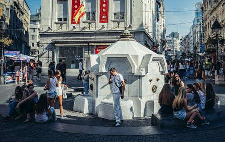 Belgrade, Serbia - August 29, 2015. Delijska Fountain at Prince Michael Street in Belgrade city