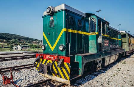 Sargan Vitasi, Serbia - August 28, 2015. Old Romanian locomotive narrow gauge railway called Sargan Eight at Sargan Vitasi station 新闻类图片