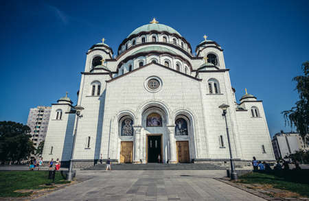 Belgrade, Serbia - August 29, 2015. Saint Sava Church in Belgrade city 新闻类图片