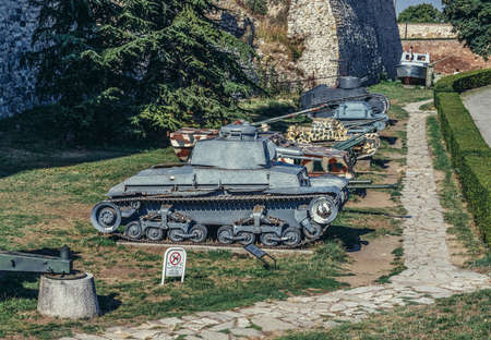 Belgrade, Serbia - August 29, 2015. Panzer 35 light tank in Belgrade Fortress