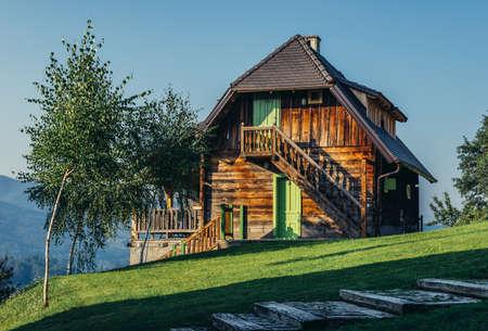 Drvengrad, Serbia - August 28, 2015. Wooden guest house in Drvengrad village built by Emir Kusturica