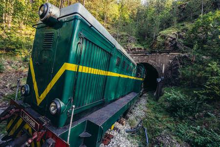 Serbia - August 28, 2015. Old Romanian locomotive narrow gauge railway called Sargan Eight running from the village of Mokra Gora to Sargan Vitasi