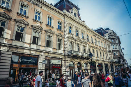 Belgrade, Serbia - August 29, 2015. People walks in front of Nikola Spasic Endowment building at Knez Mihailova (english: Prince Michael) Street