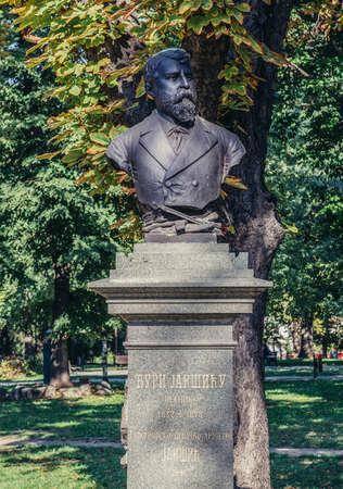 Belgrade, Serbia - August 29, 2015. Georgije Dura Jaksic memorial bust in Large Kalemegdan Park 新闻类图片
