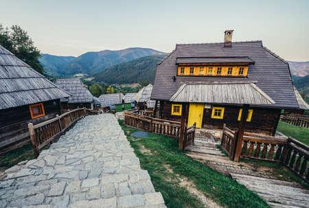 Drvengrad, Serbia - August 28, 2015. Guest houses in Drvengrad village built by Emir Kusturica