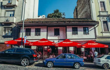 Belgrade, Serbia - August 29, 2015. Question Mark kafana - old traditional tavern in Belgrade city