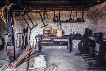 Sirogojno, Serbia - August 12, 2017: Interior of coopers workshop in in open air museum in Sirogojno village in Zlatibor area