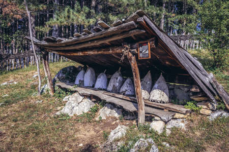 Sirogojno, Serbia - August 12, 2017: Old traditional beehives in open air museum in Sirogojno village in Zlatibor area