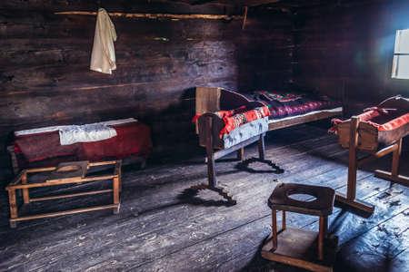 Sirogojno, Serbia - August 12, 2017: Furnitures in rural houses in open air museum in Sirogojno village in Zlatibor area