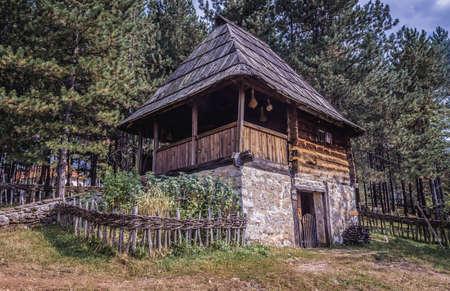 Sirogojno, Serbia - August 12, 2017: Old house from 1890 in in open air museum in Sirogojno village in Zlatibor area