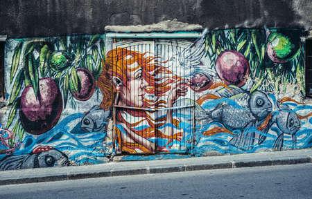Belgrade, Serbia - August 29, 2015. Graffiti in Savamala area of Belgrade