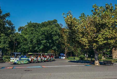 Belgrade, Serbia - August 29, 2015. Guide tour train in Large Kalemegdan Park
