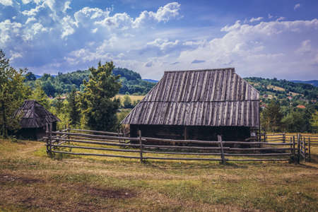 Sirogojno, Serbia - August 12, 2017: Old wooden stable building in open air museum in Sirogojno village in Zlatibor area