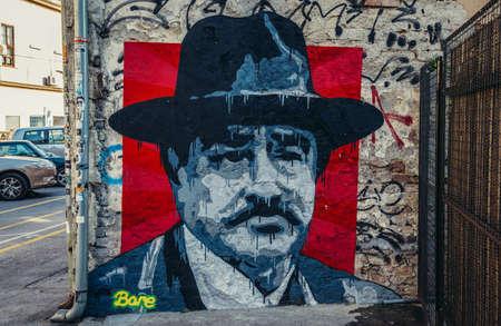 Belgrade, Serbia - August 29, 2015. Graffiti of Serbian actor Danilo