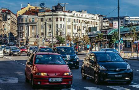 Belgrade, Serbia - August 29, 2015. Cars on Brankova Street in Belgrade city