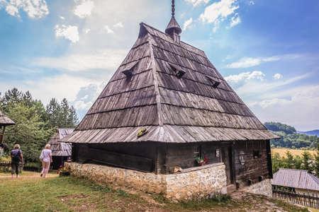 Sirogojno, Serbia - August 12, 2017: Old rural house from 1882 in open air museum in Sirogojno village in Zlatibor area